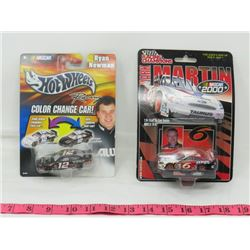 LOT OF 2 COLLECTOR CARS (HOT WHEELS, RACING CHAMPIONS) *NASCAR-COLOR CHANGES*