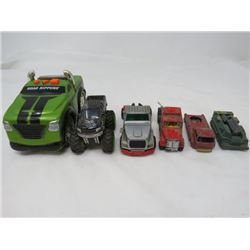 LOT OF ASSORTED TOY VEHICLES ( MONSTER TRUCK, ROAD RIPPER TRUCK, SUPER KING SEMI, FIRE ENGINE AND TA