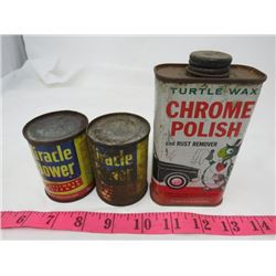 LOT OF 3 METAL TINS (2-MIRACLE TOP CYLINDER LUBRICANT, 1-TURTLE WAX CHROME POLISH AND RUST REMOVER)