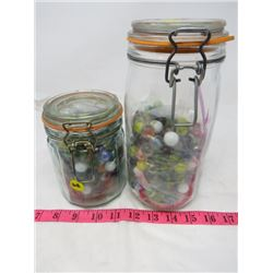 LOT OF 2 CANNING JARS WITH MARBLES ( 1-FULL, 1-HALF FULL)
