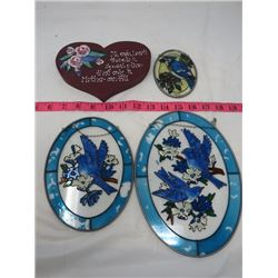LOT OF 4 WINDOW DECORATIONS (3 X STAINED GLASS) *1 X HEART*