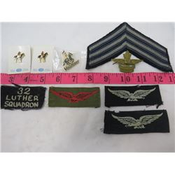 LOT OF PINS AND BADGES (3 X R.C.M.P MOUNTED RIDER PINS, AIR CADETS BADGES, LUTHER COLLEGE PIN)