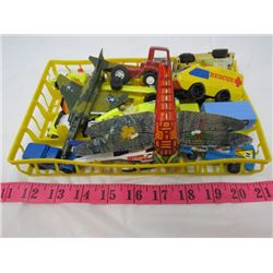 LOT OF MISC TOY VEHICLES AND A TOY BUG