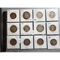 LOT OF 12-FIFTY CENT COINS (ASSORTED DATES) *CANADA*