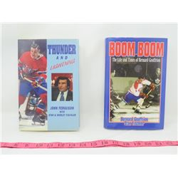 LOT OF 2 HOCKEY RELATED BOOKS (THUNDER AND LIGHTNING AND BOOM BOOM: THE LIFE AND TIMES OF BERNARD GE