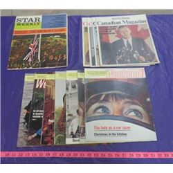 LOT OF 12 NEWSPAPER MAGAZINES (VINTAGE) *7 X THE WEEKEND 1971, 4 X CANADIAN MAGAZINE 1971 & 1 STAR W