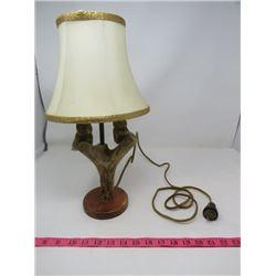 """CARVED LAMP (VINTAGE) *DEER ANTLER* (2 OWLS) *17"""" TALL*"""