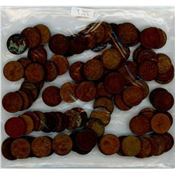 LOT OF 100 CANADIAN PENNIES (ASSORTED DATES) *1910-1970-SOME YEARS MAY NOT BE INCLUDED*