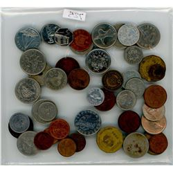 LOT OF 47 FOREIGN COINS (MANY YEARS, COUNTRIES AND DENOMINATIONS)
