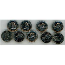 LOT OF 9-CENTENNIAL FIVE CENT COINS (CANADA) *1967*