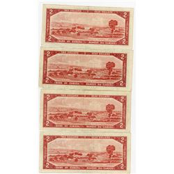 LOT OF 4-TWO DOLLAR BILLS (CANADA) *1954*