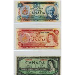 LOT OF 3 CANADIAN BILLS (1$-1954, 2$-1974, 5$-1979)