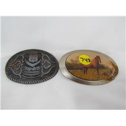 LOT OF 2 BELT BUCKLES (HORSE, PACIFIC 66)
