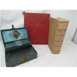LOT INCLUDING JEWELLERY BOX W/KEY, 2 BOOKS (1927 CRIMINAL CODE, SCHOOL ATLAS)