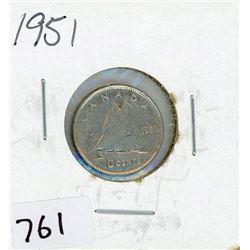 TEN CENT COIN (CANADA) *1951* (SILVER)