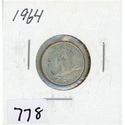 TEN CENT COIN (CANADA) *1964* (SILVER)