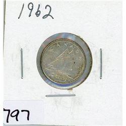 TEN CENT COIN (CANADA) *1962* (SILVER)