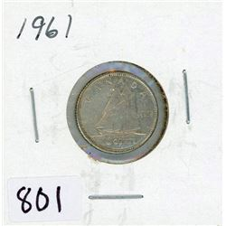 TEN CENT COIN (CANADA) *1961* (SILVER)