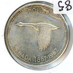 ONE DOLLAR COIN (CANADA) *1967* (SILVER)