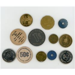 LOT OF 12 HIGH QUALITY TOKENS (ASSORTED YEARS, DATES, AND ENTITIES)