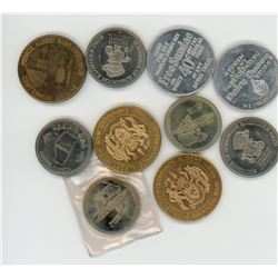 LOT OF 10 TOKENS (ASSORTED YEARS, DATES, AND ENTITIES)