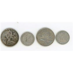 LOT INCLUDING 2-TWENTY FIVE CENT COINS AND 2-TEN CENT COINS (CANADA) *1967-68*