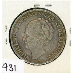 ONE 72% SILVER COIN (FROM THE NETHERLANDS) *1938*