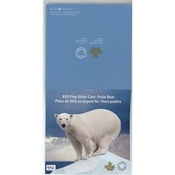 FIFTY DOLLAR SILVER COIN (CANADA) *POLAR BEAR* (CANADIAN MINT) *2014*