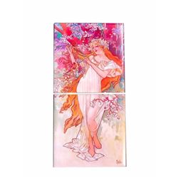 Modern Alphonse Mucha Seasons Ceramic Tile Insert Mural, Spring
