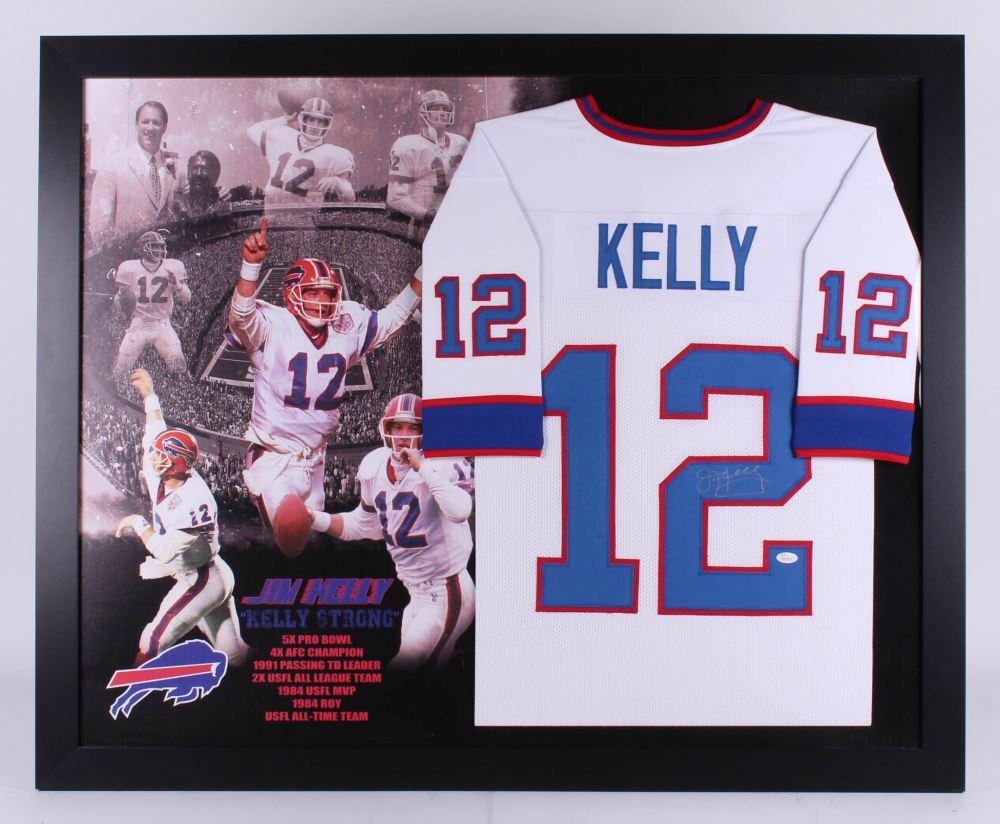 newest caad0 94ba4 Jim Kelly Signed Buffalo Bills 35.5x43.5 Custom Framed ...