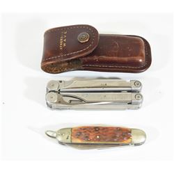 Pocket Folding Knife and Leatherman Wave Tool