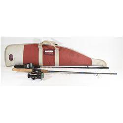 Two Fishing Rods/Reels in Soft Gun Case
