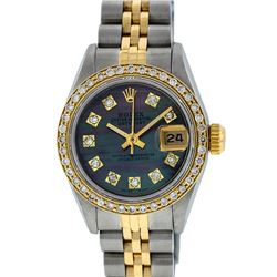 Rolex Ladies Two Tone 14K Tahitian MOP Diamond Datejust Wristwatch