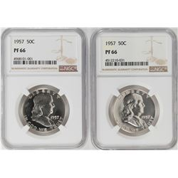Lot of (2) 1957 Proof Franklin Half Dollar Coins NGC PF66