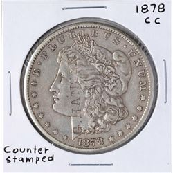 1878-CC $1 Morgan Silver Dollar Coin w/ Counter Stamp