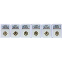 Lot of (6) 2007 George Washington Presidential Dollar Coins NGC Brilliant Uncirc