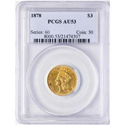 1878 $3 Indian Princess Head Gold Coin PCGS AU53