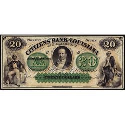 1800's $20 Citizens Bank of Louisiana Obsolete Bank Note