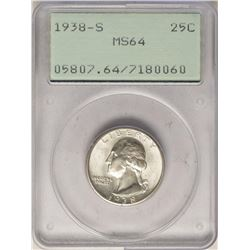 1938-S Washington Quarter Coin PCGS MS64 Old Green Rattler Holder