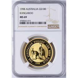 1998 Australia $100 Gold Kangaroo Coin NGC MS69
