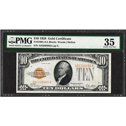 1928 $10 Gold Certificate Note Fr.2400 PMG Choice Very Fine 35