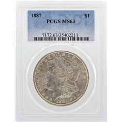 1887 $1 Morgan Silver Dollar Coin PCGS MS63