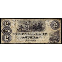 1861 $2 The Central Bank of Alabama Obsolete Note