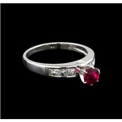 0.75 ctw Pink Tourmaline and Diamond Ring - 14KT White Gold