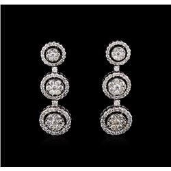 2.68 ctw Diamond Earrings - 14KT White Gold