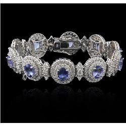 14KT White Gold 11.11 ctw Tanzanite and Diamond Bracelet