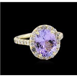 3.07 ctw Tanzanite and Diamond Ring - 14KT Yellow Gold