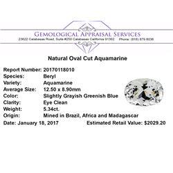 5.34 ct.Natural Oval Cut Aquamarine