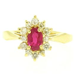 18k Yellow Gold 0.95 ctw Oval Ruby Solitaire & Round Brilliant Diamond Halo Ring