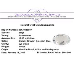 3.90 ct.Natural Oval Cut Aquamarine